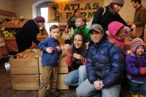 Kristin Barry, Shelly Risinger, and their children Brycen and Cobyn at the Northampton Winter Farmers' Market. Jason Threlfall photo.